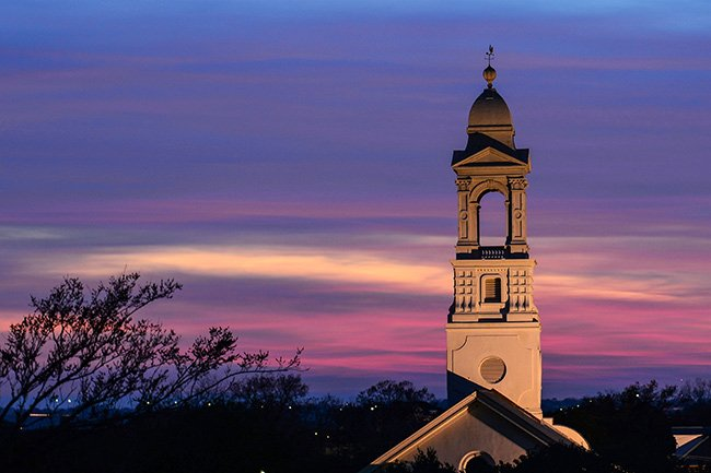 St. John's Lutheran Church Steeple at Sunset