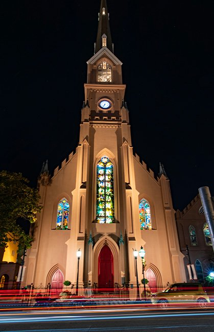 St. Matthews Church at Night, Charleston