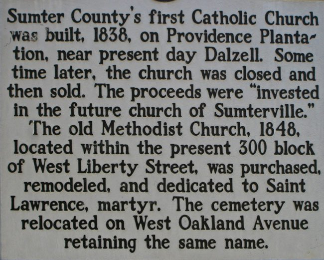 Sumter County Catholic Marker