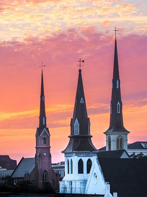 Three Steeples, Mother Emanuel in the Foreground, Charleston
