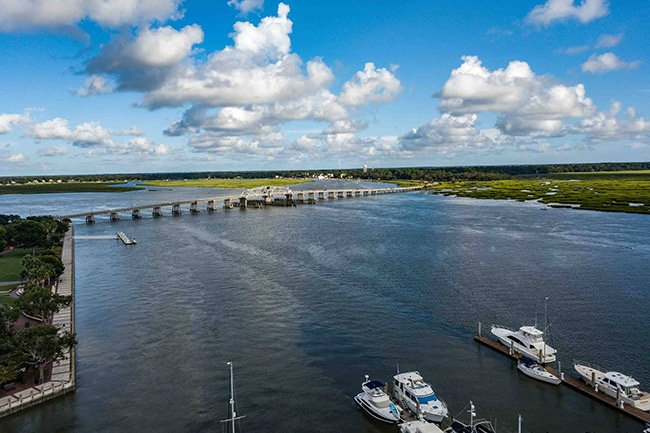Woods Memorial Bridge, Beaufort, Aerial View