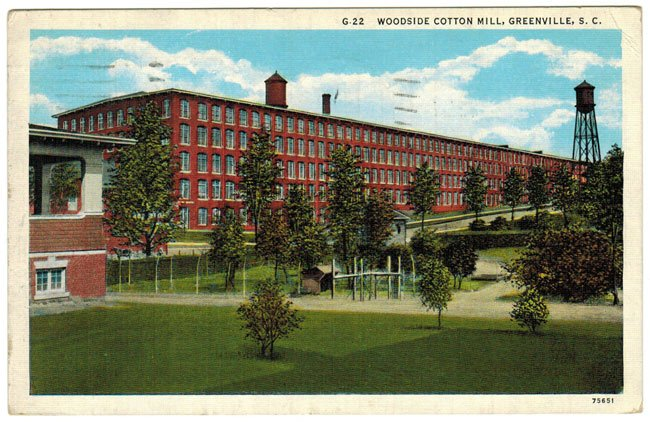 Woodside Mill in Greenville, SC, Old Postcard