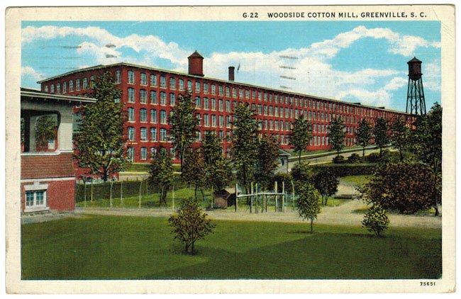 Woodside Mill in Greenville, SC, Old Postcard
